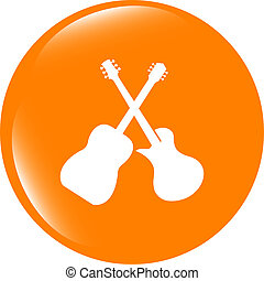 Guitar web icon button isolated on white