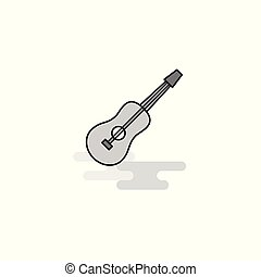 Guitar Web Icon. Flat Line Filled Gray Icon Vector