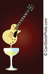 Guitar Wine - A rock guitar melting down into a glass of...