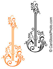 Guitar with floral embellishments for musical design
