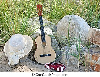 guitar with hat and shoes