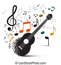 Guitar with Notes on White Background