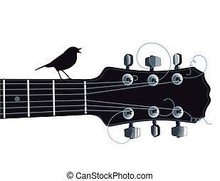 Guitar with singing bird