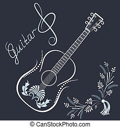 Guitar with treble clef and  inscriptions