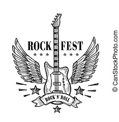 Guitar with wings. Music festival vintage poster. Rock and roll tattoo vector art