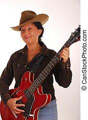 Guitar Woman 19 - Woman playing an electric guitar
