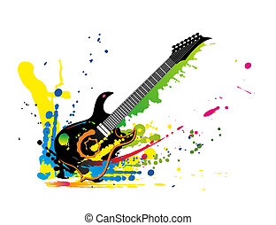 Guitar1708a - illustration of a guitar and colors all around
