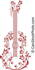 guitare, éléments floraux