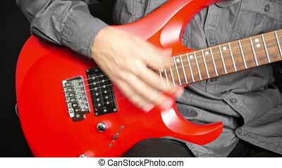guitare, électrique, jouer, homme