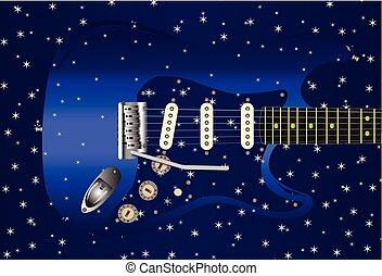 guitare, étoile, fond