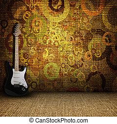 guitare, 部屋, グランジ, 織物