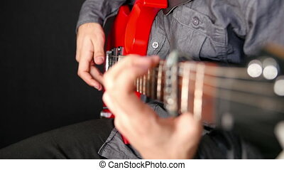 guitare 2, électrique, jouer, homme