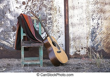 guitare, acoustique, chaise, penchant