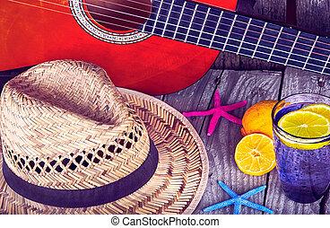 guitare, acoustique, chapeau, etoile mer