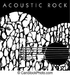 guitare, acoustique, fait, pierres