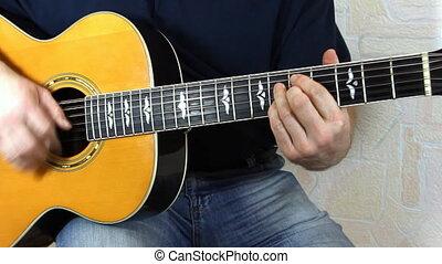 guitare, acoustique, interprète, jouer