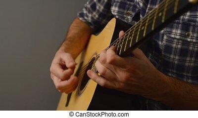 guitare, acoustique, jouer, homme