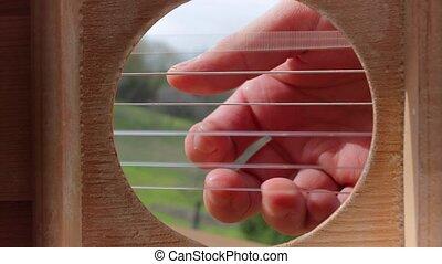 guitare, acoustique, jouer