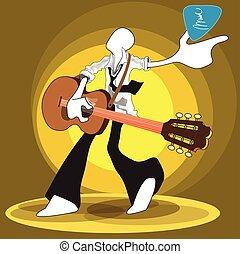 guitare, agir, chant, jouer, homme