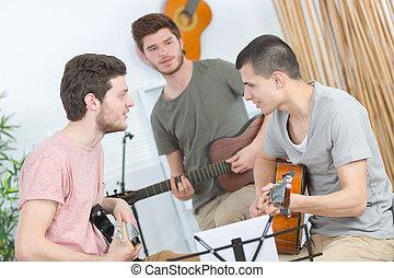 guitare, amis, répéter, trois