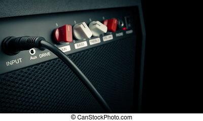guitare, amplificateur, dépassement, closeup
