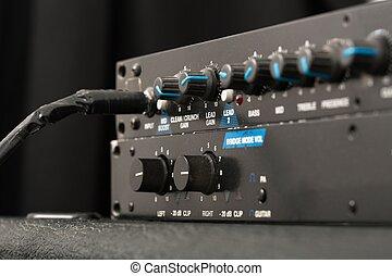 guitare, amplificateur, détail