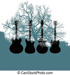 guitare, arbre, musique, fond