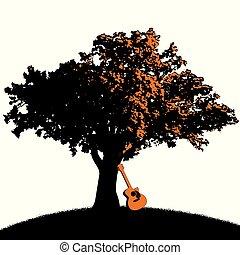 guitare, arbre, type, espace