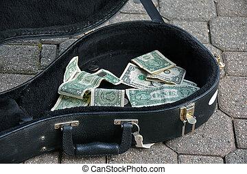 guitare, argent, pointes, cas