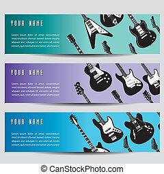 guitare, bannières, ensemble, trois