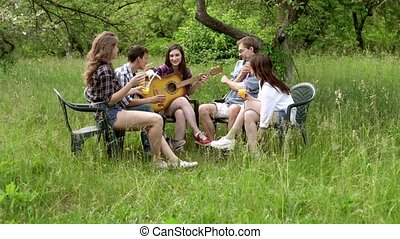 guitare, barbecue, girl, jouer