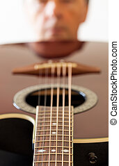 guitare, bas, vue, fretboard, figure