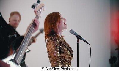 guitare, blanc, chant, gingembre, jouer, chanson, studio, -,...