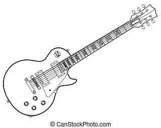 guitare, bleus, contour