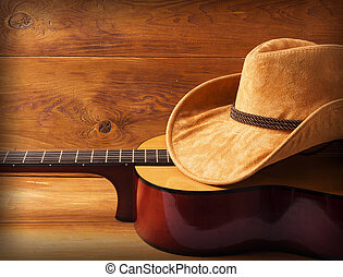guitare, bois, chapeau, fond, cow-boy