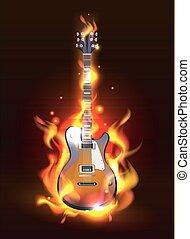 guitare, brûler, flammes