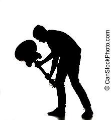 guitare, casser, sien, silhouette, homme