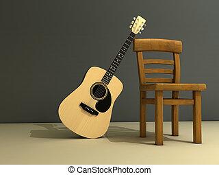 guitare, chaise