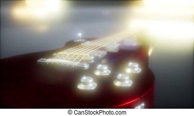 guitare, clair, sombre, lumières, électrique