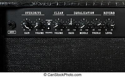 guitare, contrôle, amplificateur, panneau