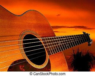 guitare, coucher soleil