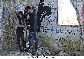 guitare, couple, électrique