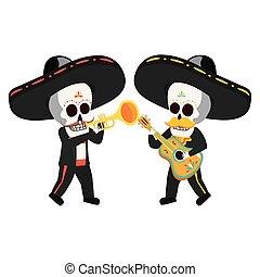 guitare, crânes, trompette, mexicain, mariachis