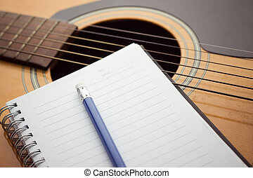 guitare, crayon, cahier