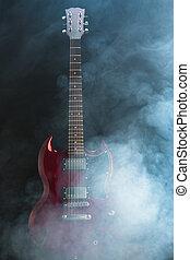 guitare, dense, électrique, fumée