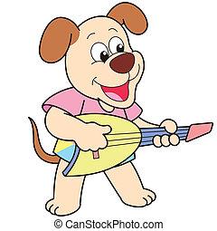 guitare, dessin animé, jouer, électrique, chien