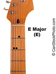 guitare, diagramme, commandant, corde, e