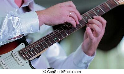 guitare, doigté, fretboard, homme