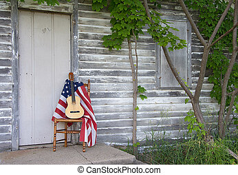 guitare, drapeau, chaise