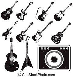 guitare, ensemble, amplificateur, icônes